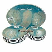 Tommy Bahama Platter, Dinner And Salad Plates Reef Melamine Turquoise Gold 13pc