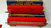 American Flyer 0-gauge = 494 + 495 = Red Baggage And Pass Cars Boxed