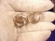 Excellent Pair Of Sterling Silver Hoop Earrings With 14k Gold Posts And Tube Edges