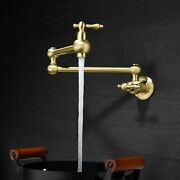 Folding Stretchable Pot Filler Kitchen Faucet Brushed Gold Brass Tap Wall Mount