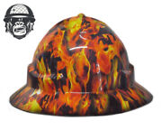 Custom Hydrographic Mining Safety Hard Hat Construction Industrial Flames Wide