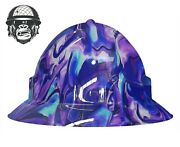 Hydrographic Mining Safety Hard Hat Construction Industrial Paint Swirl Wide