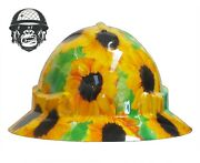 Hydrographic Mining Safety Hard Hat Construction Industrial Sunflower Wide