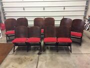 10 Antique Wood Auditorium Folding Chairs In Pairs Of 2 - Very Good