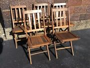 5 Vintage Same Very Old Wood Folding Chairs - Very Good