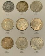 Nice Complete Peace Dollar Set 1921-1935 Mixed Grades Several Lightly Toned