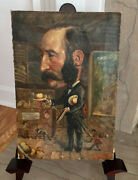 Fantastic 1870andrsquo French Antique Oil On Canvas Caricature Man Politician