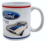Ford Mustang Official Licensed White Ceramic Coffee Mug 1972 Mustang Sprint Euc