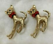Pair Of Vtg Cat Pins Gold Tone Rhinestone Eyes Red Bows Articulated Head Bobbing