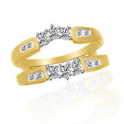 1/2 Ct 3 Stone Round 14k Yellow Gold Ring Guard Wrap Solitaire Enhancer