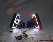 White+yellow Led Drl+angle Eye Led Fog Lamp For Toyota Hilux Revo Rocco 18-19