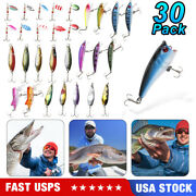 Lot Of 30 Trout Spoon Metal Fishing Lures Spinner Baits Bass Tackle Colorful Hot