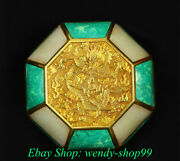 5 Old China Copper 24k Gilt Turquoise Dynasty Palace Dragon Jewelry Box