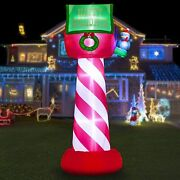 Hoojo 8and039 Christmas Inflatable Mailing Box Outdoor Decoration With Leds
