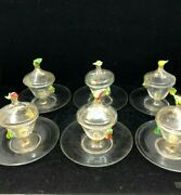 Salviati Hand Blown Venetian Glass Covered Fruit Coupes And Saucers Set Of 11