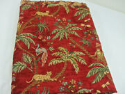 Upholstery Fabric Tropical Jungle Monkey Palm Trees Peacock Lion Brick Red 54 L