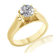 Round Simulated Diamond Solitaire Basket Engagement Ring 18k Yellow Gold