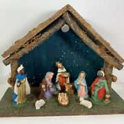 Vintage Nativity Crandegraveche 10 Hard Plastic Figures Wood Stable Made In Italy