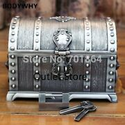 Treasure Chest With Lock 2 Layers Vintage Jewelry Box Carrying Case Trinkets