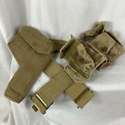 Wwii British Web Belt W/ Holster And Ammo Pouches