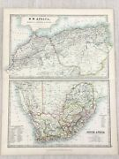 1896 Antique Map Of North Africa South African Cape Colony 19th Century Johnston