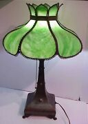 Gorgeous Antique Arts And Crafts Mission Style Metal Slag Glass Shade Table Lamp