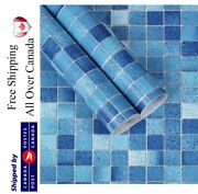 Blue Checkered Mosaic Wallpaper Peel And Stick Removable Selfadhesive Vinyl