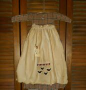 Primitive Wall Decor Dress Red And Blue Plaid W/ Apron Crows And Hearts Grungy