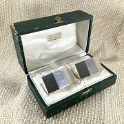 1938 Antique Art Deco Silver Plated Napkin Rings Christofle Boxed Pair Monogram