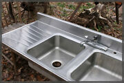 We Ship Big Vintage Stainless Steel Industrial Tracy Style Farmhouse Farm Sink