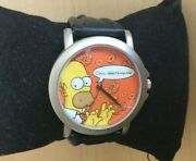 Homer Simpson Simpsons Quart Wrist Watch Genuine Leather Band Collectible New
