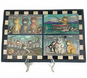 Hand Painted Cat Folk Art 4 Seasons Signed A D Foster On Wood Ready To Hang