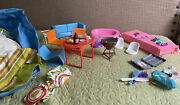 Vintage Lot Barbie Pool Furniture Accessories Grill Bags Suitcase Plates Blow Up