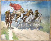 Russian Ukrainian Soviet Oil Painting Cavalry Red Army Riders Banner Trumpeters