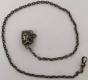 Rare Sterling Native American Indian Brave Clip Watch Fob Long Chain C. 1910