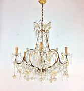 Antique 20and039s Italian Crystal Chandelier Murano Glass Flowers Beaded Iron Gilt