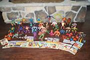 Huge Lot Vintage 1980and039s He-man Action 33+ Figures + Comics And Weapons
