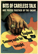 Original 1943 World War Wwii Poster Bits Of Careless Talk Can Be Pieced Together