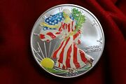 2000 United States Silver Eagle Painted Lady Coin, Real Silver Eagle In Air-tite