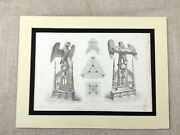 1857 Antique Architectural Print Notre Dame Aix La Chapelle Eagle Carved Lectern