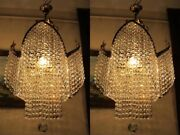 Pair Of Antique Vintage French Crystal Chandelier Light Lamp Lustre