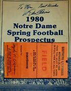 1983 Nd Vs Usc Gameday Field Pass And 1980 Prospectus Autographed By Dan Devine