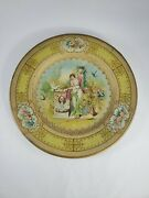 Vintage Vienna Art Plate Woman And Doves Art Tin Litho Plate Advertising Metalware