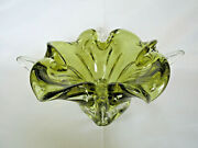 Vintage Chalet Canadian Green Glass Swirl Candy Bowl Signed