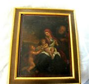 18th Century Antique Italian Painting Oil On Board Holy Family