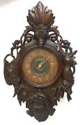 Antique Black Forest Carved Wall Hanging Clock Boars Head Rabbit Bird Fish