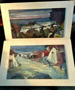 Antiques, Paintings2 Mid Century Modern, Oil On Board, Barborini, 1952, Italy