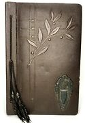 Vintage Embossed Empty Photo Album Brown Floral W Copper Insignia Signed 1933
