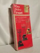 30 Deluxe Fire Set, Poker, Shovel, Brush, And Stand In Black And Brass