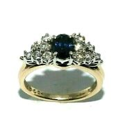 Ladies Impressive 9ct Yellow Gold Ring With A Sapphire + Diamonds, Uk Size O 1/2